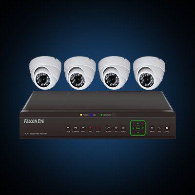 Комплект видеонаблюдения Falcon Eye 4-ех кан DVR + 4-е камеры + установ. компл. FE-104D-KIT Дом