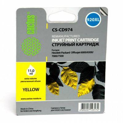 Расходный материал Cactus Картридж №920XL (желтый) для HP Officejet 6000/6500/7000/7 500 11мл CS-CD974