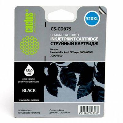 Расходный материал Cactus Картридж №920XL (черный) для HP Officejet 6000/6500/7000/7500 35мл CS-CD975