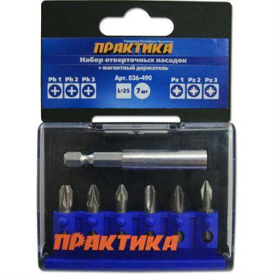 """Бита Практика """"Профи"""" 7шт PH1,2,3; PZ1,2,3 x 25мм, магнитный держатель, кассета 036-490"""
