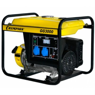 Генератор CHAMPION бензиновый GG3000 (2.3/2.5 кВт, OHV 4.62 л.с., 15 л, 40,1 кг, 1.4 л/ч, 12 V)