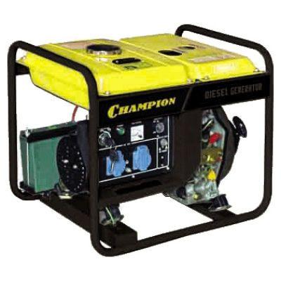 Генератор CHAMPION дизельный DG2200E (1.7/2 кВт, 4.2 л.с., 11.5 л, 64 кг, 1 л/ч, 12 V, эл. старт)