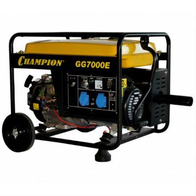 Генератор CHAMPION бензиновый GG7000E ATS газоотвод (5/5.5 кВт, OHV 13 л.с., 25 л, 77 кг, 2.8 л/ч 12 V, эл.старт, колеса)