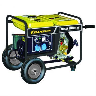 Генератор CHAMPION дизельный DG3600E (3/3.3 кВт 6.7 л.с., 11.5 л, 90 кг, 1.2 л/ч, 12 V, эл.старт, колеса)