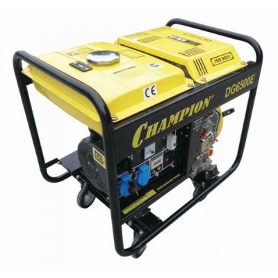 Генератор CHAMPION дизельный DG6500E (5/5.5 кВт, 8.5 л.с., 12 л, 92 кг, 1.4 л/ч, 12 V, эл.старт, колеса, счетчик акк.)