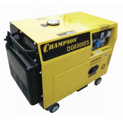 Генератор CHAMPION дизельный DG6500ES (5/5.5кВт, 8.5 л.с., 15 л. 161 кг. 1.4 л/ч, 12 V, эл.старт, колеса, счетчик)