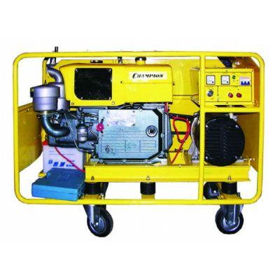 Генератор CHAMPION дизельный DG10E (8.5/10 кВт, UP1100 вод.охл., 15 л.с., 10 л. 275 кг. 2 л/ч, эл.старт, колеса)