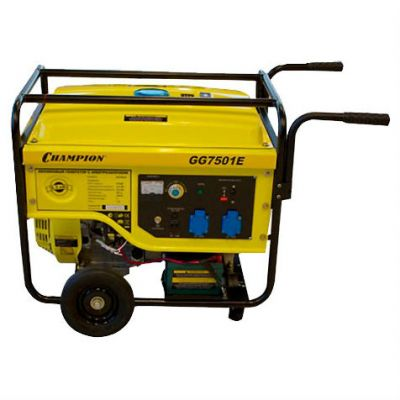Генератор CHAMPION бензиновый GG7501E (6/6.5 кВт, OHV 420,13 л.с., 25 л, 87 кг, 2.6 л/ч, 12 V, эл.старт, колеса)