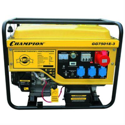 Генератор CHAMPION бензиновый GG7501E-3 (380 В, 7.5/8.1 кВА, 13 л.с., 25 л, 87 кг, 2.5 л/ч, 220/12 V, эл.старт, колеса)