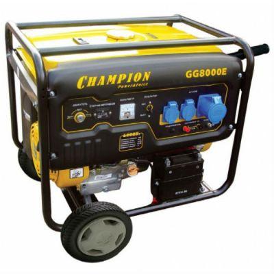 Генератор CHAMPION бензиновый GG8000E (6/6.5 кВт, OHV190 F-D, 13 л.с., 25 л, 89 кг, 3.4 л/ч, 1.1 л, эл.старт, колеса, счетчик)