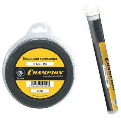 Леска триммерная CHAMPION NYLSAW 3.5мм, туба 42см*17шт. (черный зубчатый) C5046