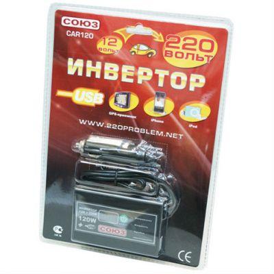 СОЮЗ Автомобильный инвертор CAR120 metal 120 W, 120 Вт 12 В (прикуриватель)