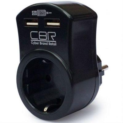 Сетевой фильтр CBR CSF 2100U, 1 розетка, 2 USB, черный