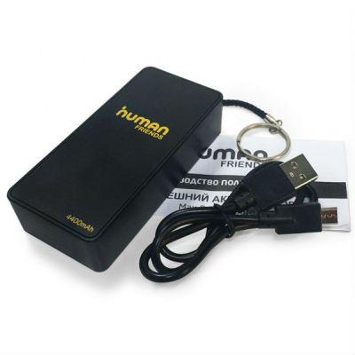 Адаптер питания Human Friends Power Bank, универсальное зарядное устройство Safe 4400 mAh, 1A, 1 USB, micro USB