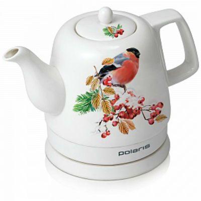 Электрический чайник Polaris PWK 1299CCR (белый с узором/птица)