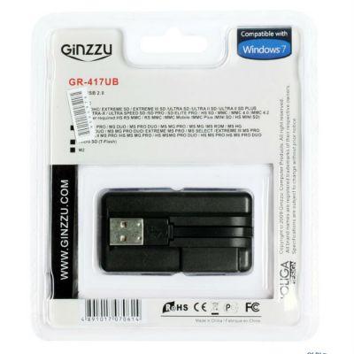 КартРидер Ginzzu GR-417UB USB 2.0 + HUB 3 port Black