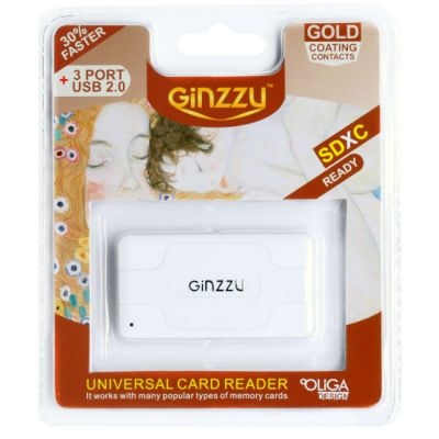 КартРидер Ginzzu GR-417UW USB 2.0 + HUB 3 port White