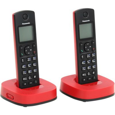 Телефон Panasonic Dect KX-TGC312RUR черно-красный