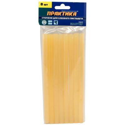 Практика Клей желтый, прозрачный, 11 х 200 мм, 8 шт / пакет с подвесом 641-640