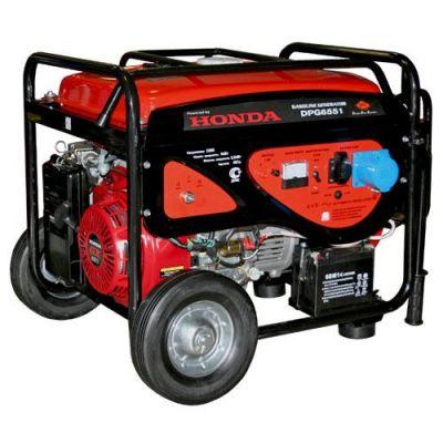 Генератор DDE бензиновый DPG6551 однофазн.ном/макс. 5,0/5,5 кВт (Honda GX390, т/бак 25 л, электростарт, КОЛЕСА, 86 кг)