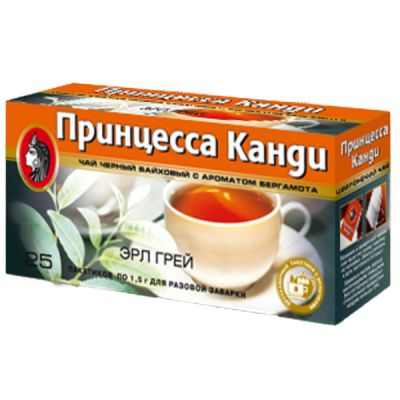 Чай Принцесса Канди Эрл Грей (в пакетиках, 25х1,5г, черный) 0653-32