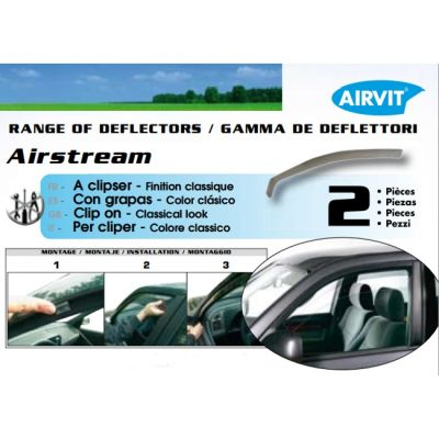 Дефлекторы AIRVIT на боковые окна SUPER Opel Vectra C 4D 05/2002-> 2 части передние (цвет светло-серый) ARV01-00063