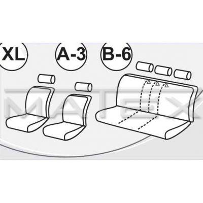 Чехол на сиденья автомобиля Matex универсальный, материал Блеск, размер B-6 ACC05-00075