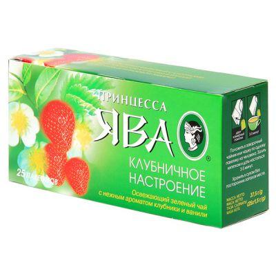 Чай Принцесса Ява Клубничное настроение (в пакетиках, 25х1,5г, зеленый) 0441-72
