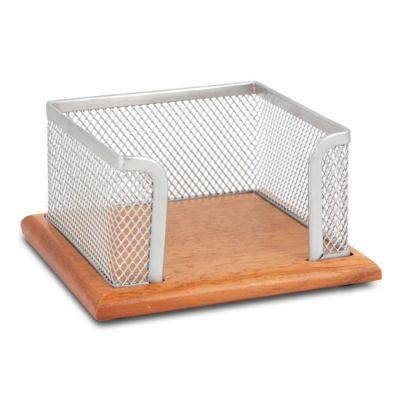 Бюрократ Бокс для кубарика BLD01-499-15 металлическая сетка+дерево серебристый 11.5х11.5х6.2 см (811845)