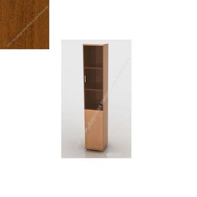Шкаф ПМК (офисный) ШКС-04 высокий , узкий со стеклом 370*380*1960 (Темный орех)