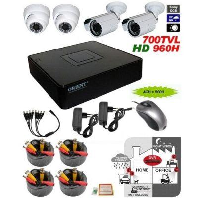 Комплект видеонаблюдения Orient KIT-8204D-2Y2D видеорегистратор 4-х кан. 960H (960x576)@25fps + 4 камеры CC
