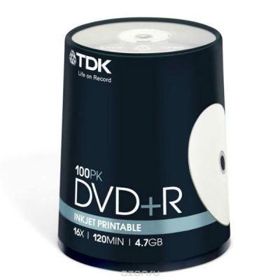 DVD/CD TDK DVD+R 4.7Gb (100шт) Printable 514911