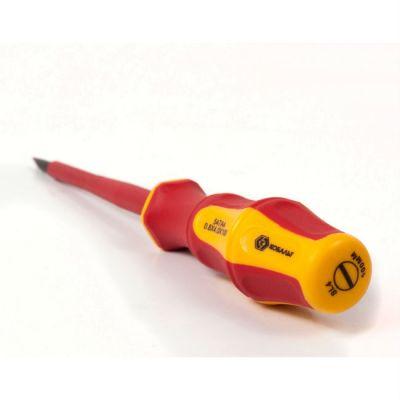 Отвертка КОБАЛЬТ диэлектрическая Ultra Grip SL 4,0 х 100 мм CR-V, двухкомпонентная рукоятка (1 шт.) подвес 646-447