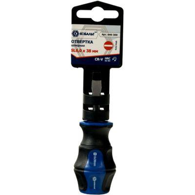 Отвертка КОБАЛЬТ Ultra Grip SL 6,0 х 38 мм CR-V, двухкомпонентная рукоятка (1 шт.) подвес 646-300