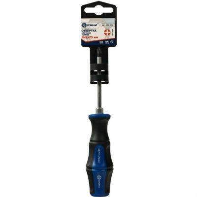 КОБАЛЬТ Отвертка ударная Ultra Grip PH-1x75 мм S2, двухкомпонентная рукоятка (1 шт.) подвес 646-584