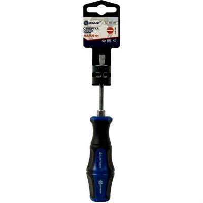 КОБАЛЬТ Отвертка ударная Ultra Grip SL 5,5x75 мм S2, двухкомпонентная рукоятка (1 шт.) подвес 646-539