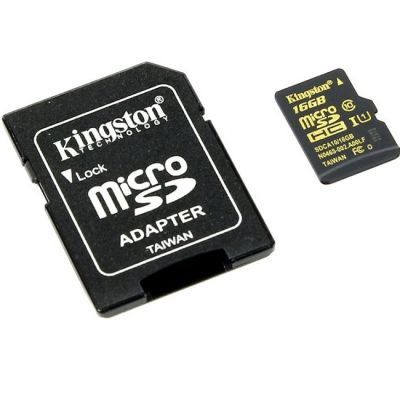 Карта памяти Kingston microSDHC Class 10 UHS-I U1 (SD адаптер) SDCA10/16GB
