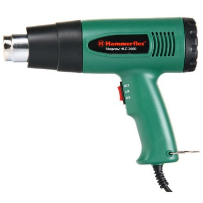 Строительный фен Hammer HLG2000, 2000 Вт, 450/600 С, 300/500 л/мин, насадки, тепл. защита, HLG2000