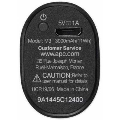 Портативный аккумулятор (Power Bank) APC Mobile Power Pack Li-Pol 3000mAh 1A , черный M3BK-EC