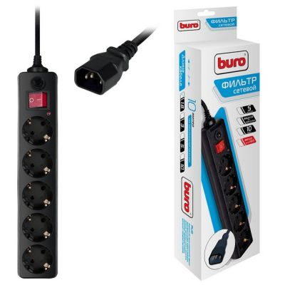 Сетевой фильтр Buro 500SH-1.8-UPS-B (5 розеток) черный