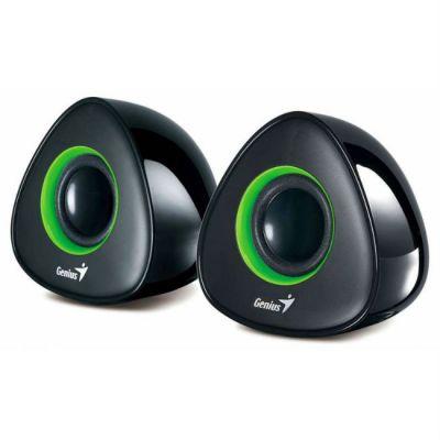 Колонки Genius SP-U150X 2.0 черный/зеленый 4Вт портативные 31730992101