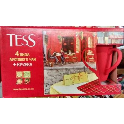 Чай TESS Подар.набор лист.чая и чай нап.с сувенир.керам.кружкой 4 вида лист.390г. 1063-04