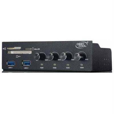 Deepcool ��������� ������� ���������� Fan controller 3pin 339g ���� 5.25 with Card reader CF/SD/Micro SD/2xUSB 3.0 RTL ROCKMASTERV3.0