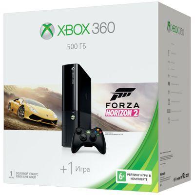 Игровая приставка Microsoft Xbox 360 E 3M4-00043 черный в комплекте: игра: Forza Horizon 2