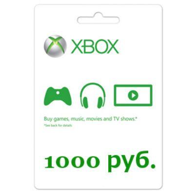 Microsoft Карта оплаты для сети Xbox LIVE 1000 рублей K4W-03074