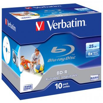 Verbatim ���� BD-R Verbatim 25Gb 6x Jewel case (10��) Printable Scratch proof (43713)