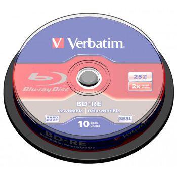 Verbatim Диск BD-RE Verbatim 25Gb 2x Cake Box (10шт) (43694)