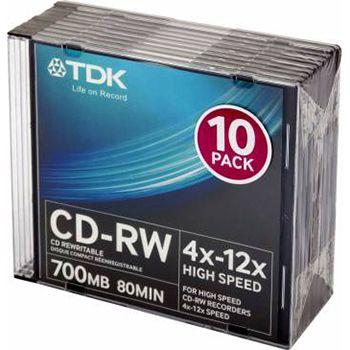 TDK Диск CD-RW TDK 700Mb 4x-12x Slim Case (10шт) t18792