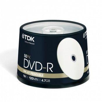 TDK Диск DVD-R 4.7Gb 16x Cake Box (50шт) Printable (t19914)