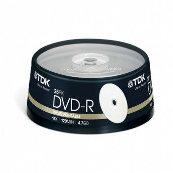 TDK Диск DVD-R 4.7Gb 16x Cake Box (25шт) Printable (t19838)